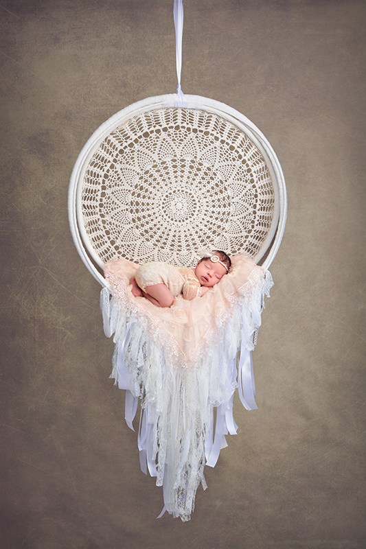 Newborn Baby in a Dream Catcher Prop
